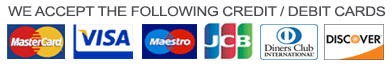 We accept the following credit / debit cards